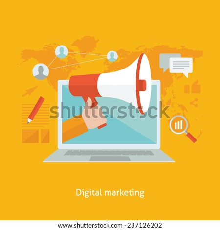 Digital marketing flat design colorful vector illustration concept isolated on bright background  - stock vector