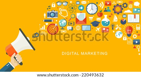 Digital marketing flat illustration. Hand with speaker and icons.Eps10