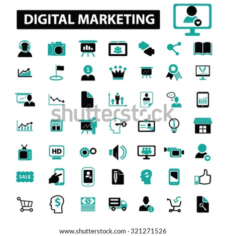 digital marketing icons - stock vector