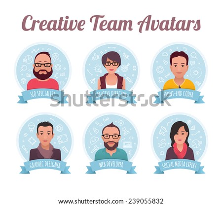 Digital marketing team. Modern style avatars of creative team members. They are: SEO specialist, creative director, front-end coder, graphic designer, web developer and social media expert. - stock vector