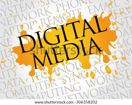 Digital Media word cloud concept - stock vector