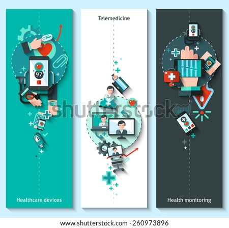 Digital medicine banners vertical set with healthcare devices telemedicine health monitoring elements isolated vector illustration - stock vector