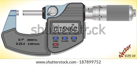Digital Micrometer - stock vector