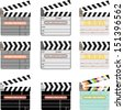 Digital movie clapper board set. Digital movie clapboard. Movie Slate is a digital slate, clapper board, shot log, and shot notepad. Digital version of the classic movie slate.   - stock vector