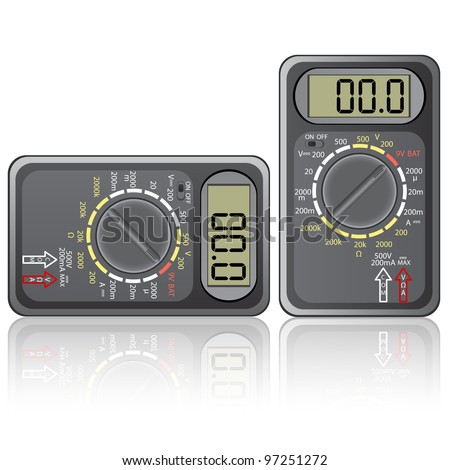 Digital multimeter. Vector illustration. Isolated on white background. Rasterized version also available in portfolio. - stock vector