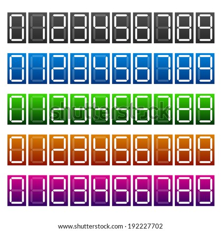 Digital number display / Digits / Counter / Numbers on interface - stock vector