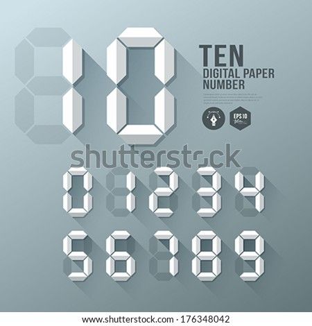 Digital Number paper and shadow design, vector illustration - stock vector