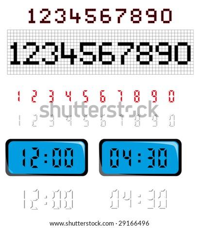 digital numbers - stock vector