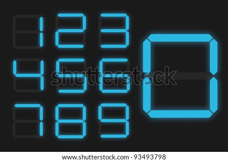 Digital Numbers - Shiny Blue - stock vector