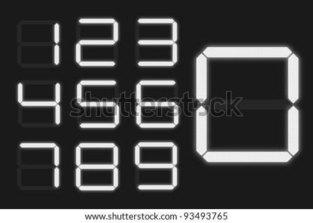 Digital Numbers - Shiny Gray - stock vector