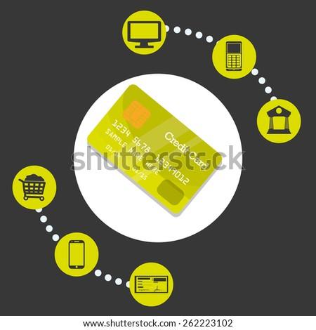 Digital payment design over gray background, vector illustration. - stock vector