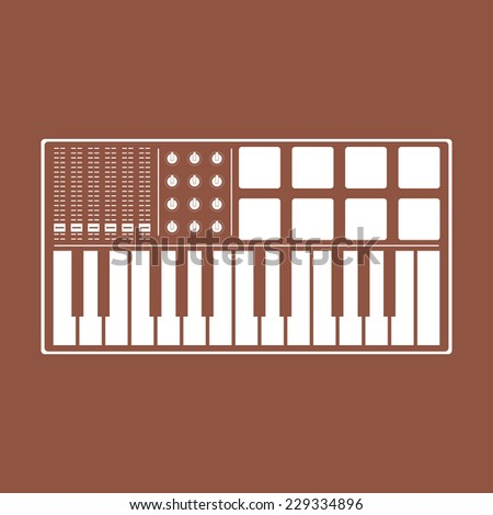 Digital piano synthesizer icon. Music midi master keyboard. Midi pads and keyboard controllers icon.  - stock vector