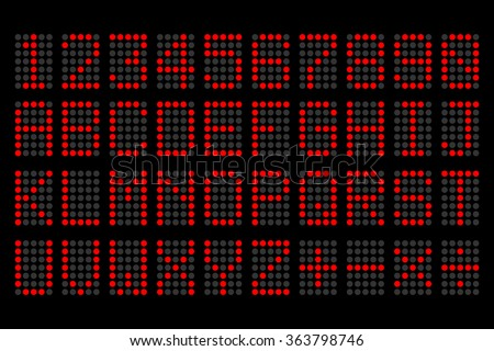 digital red letters and numbers display board for airport schedules, train timetables, scoreboard etc. - stock vector