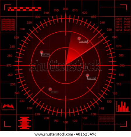 Digital red radar screen with targets and futuristic user interface on dark red screen