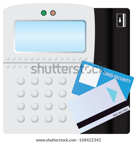 Digital scanner of security and safety card.. Vector illustration. - stock vector