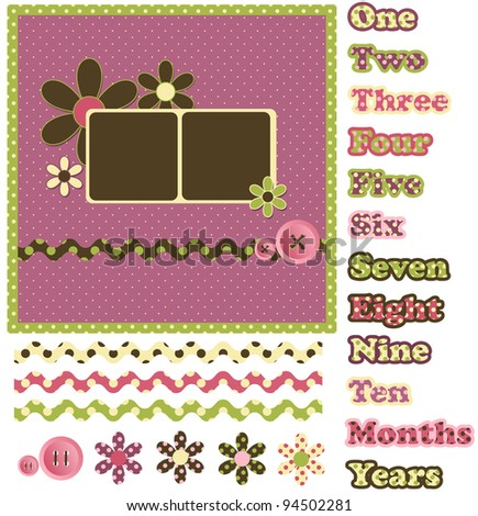 Digital Scrapbook Layout - Polka Dots - stock vector