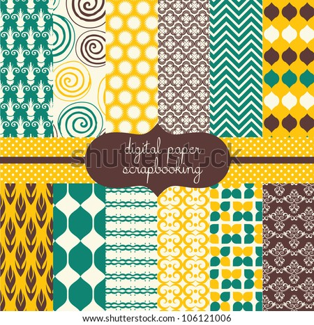 Digital Scrapbook Papers - stock vector