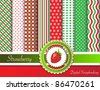 Digital scrapbooking paper swatches in red and green tones  with ribbon and sweet strawberry. EPS10 vector format. - stock vector