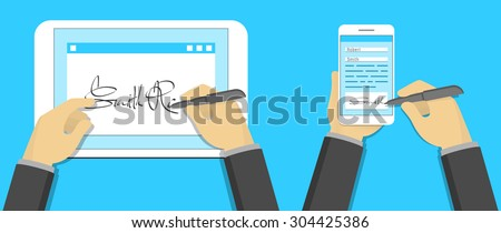 Digital signature concept, signing on tablet pc and smartphone - stock vector