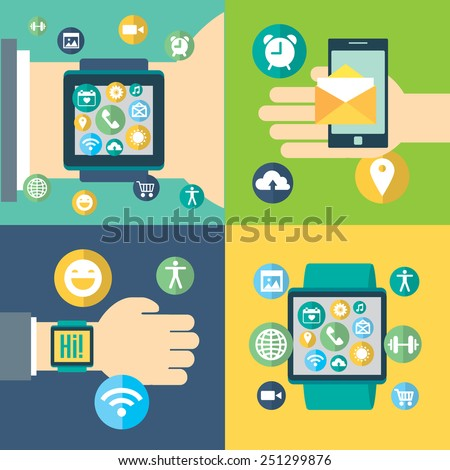Digital smart watch and gadgets with the similar smart phone's functions, mobile icon set. Vector modern illustration and design element. Push notifications - stock vector