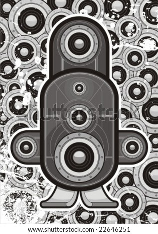 digital speaker with grunge background and little speaker - stock vector