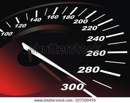 Digital speedometer with being shone arrow - stock vector