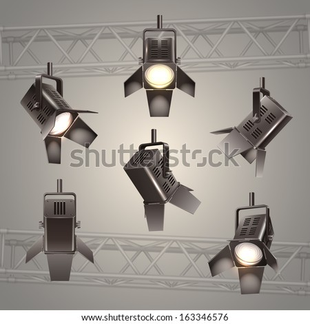 Digital stage lighting elements vector illustration - stock vector