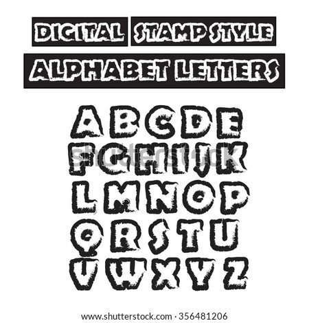 Digital stamp style alphabet. Capital  letters . Graphic design elements. Vector  illustration  - stock vector