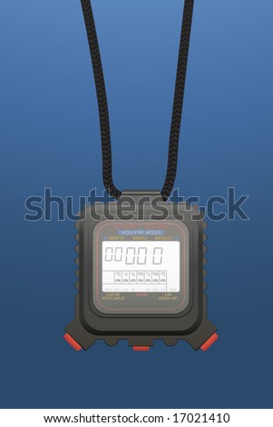 Digital stopwatch hanging on a lace - stock vector