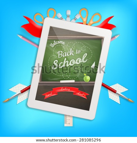 Digital tablet and pencils, apple. EPS 10 vector file included - stock vector