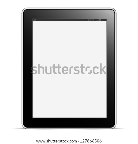 Digital tablet PC with blank screen isolated on white. Vector EPS10 - stock vector