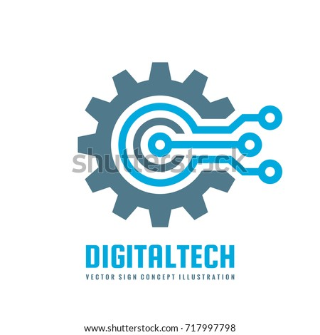 Digital tech vector business logo template stock vector royalty digital tech vector business logo template concept illustration gear electronic factory sign cog wajeb Gallery