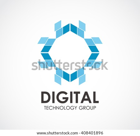 Digital technology of cross group abstract vector and logo design or template high tech business icon of company identity symbol concept - stock vector