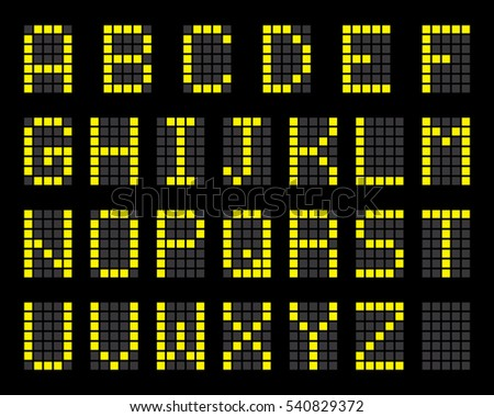 Digital terminal table led font, with grid, yellow isolated on black background, vector illustration.