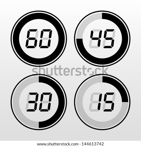 Digital timer. Black on white background. - stock vector