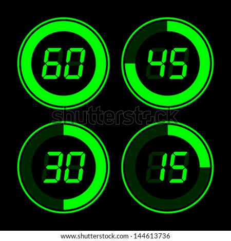 Digital timer. Green on a black background. - stock vector