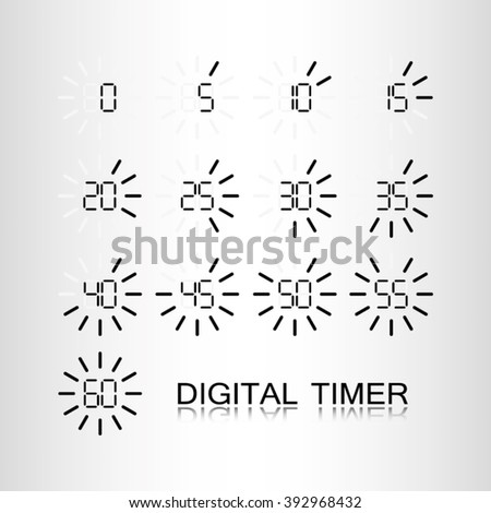 digital timer icon, digital timer icon eps10, digital timer icon illustration, digital timer icon picture, digital timer icon flat, digital timer web icon, digital timer icon art - stock vector