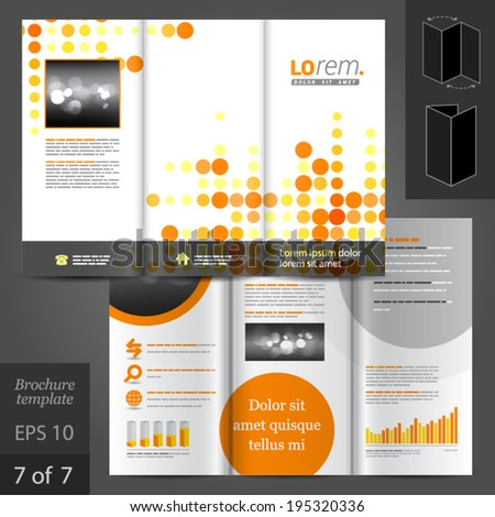 Yellow grey elements infographics on white stock vector for Digital brochure templates