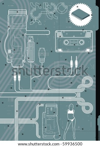 Digital video camera design template. - stock vector