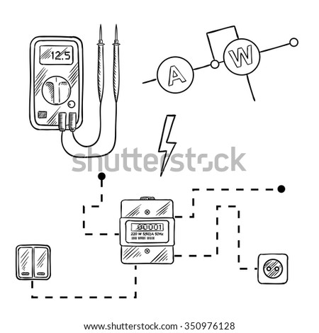 stock vector digital voltmeter electricity meter with socket and switches electrical circuit diagram sketch 350976128 digital voltmeter electricity meter socket switches stock vector meter socket diagram at readyjetset.co