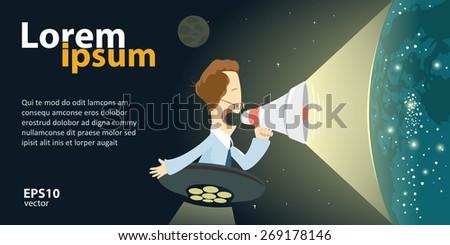 Digital web e-shop, website marketing. E-media promotion concept. Man holding megaphone. Vector color creative illustration. - stock vector