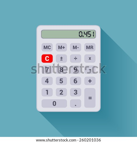 Digital white calculator on the blue background - stock vector