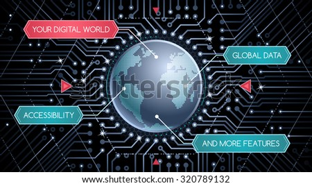 Digital World - Graphic Template. Infographics/presentation designed as a graphical interface of electronic device. - stock vector