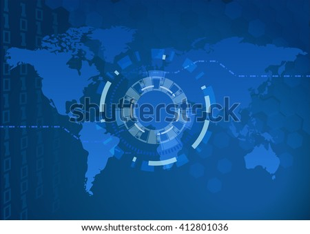 """digital world map and  focus light (eps10) Map generated using open-source free data obtained from """"Natural Earth""""  - stock vector"""