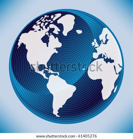 Digital world map design. - stock vector