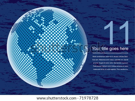 Digital world map with copy space vector. - stock vector