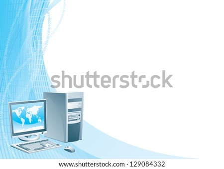 Digital world. Vector illustration of the computer, flat monitor with world map, mouse and keyboard on abstract background. - stock vector
