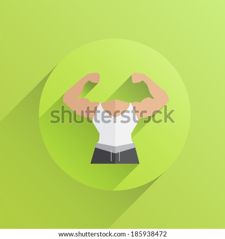 Digitally generated body with flexing biceps on green background - stock vector