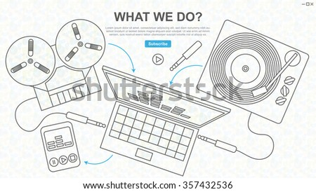 Digitization of Sound, Tape and Vinyl, Line Drawing, Website Design - stock vector