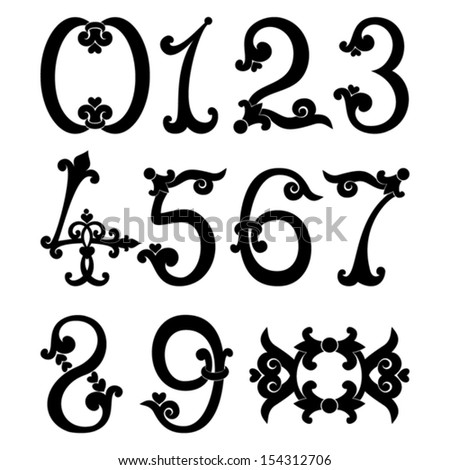 Digits and numbers set   in retro style.Vector illustration
